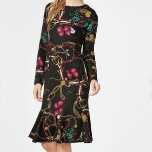 3/$20 NWT! JUSTFAB Midi Tea Dress Black Multicolor